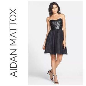 Aidan Mattox brown vegan leather tulle dress